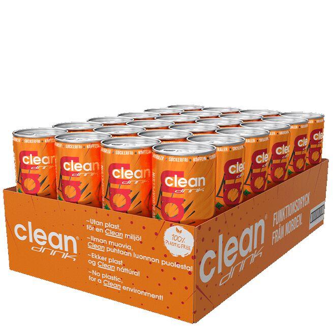 24 x Clean Drink, 330 ml, Blodapelsin